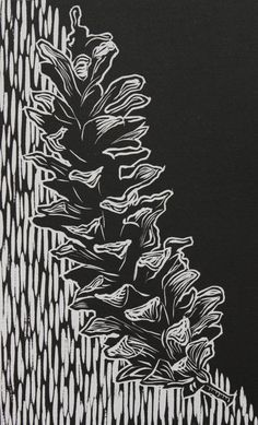 Pinecone Relief Print 7.5x12 by lauren smucker