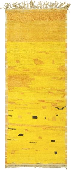 Moroccan Rug, Morocco, Mid 20th Century - This fabulous vintage Moroccan rug features a vibrant yellow field dotted with abstract shapes, walnut-brown motifs and orange stripes that create a gradated allover pattern.