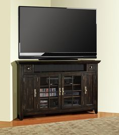 Parker House Tahoe 62in Corner TV Console $788.13 Black Corner Tv Stand,  Corner Tv Stands