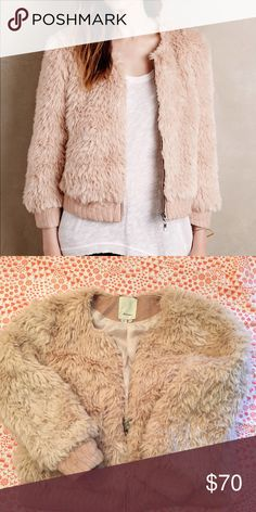 Anthropology pink faux fur coat Worn once! Make an offer or bundle to save!No low balling! Anthropologie Jackets & Coats