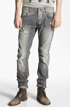 Pierre Balmain Gray Slim Fit Destroyed Jeans W32 L33