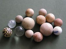 14 old vintage early clay glass marbles one 1 Decorated Clay Marble