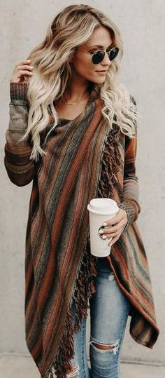 #fall #outfits / pattern print poncho