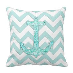 A trendy aqua glitter boat anchor design pillow with mint and white chevron zigzag stripes. Perfect for the teen girl.