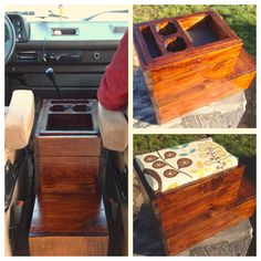 I built this center console for our VW Vanagon using scrap wood and fabric that my wife picked out.  The center console is intended to hold my coffee, provide a step so one of my pups can see out the front window, and has a reversible top so we have an extra seat while we\'re out camping.  I\'m going to add built-in USB chargers as well but haven\'t quite finished the project yet.
