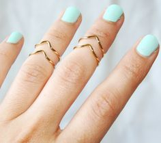 Double Chevron Arrow Cuff Rings - Mid Knuckle Ring