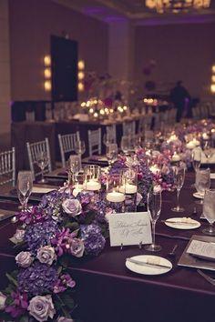 platinum and plum wedding | Plum Floral Runner | Centerpieces - Low & Simply Elegant