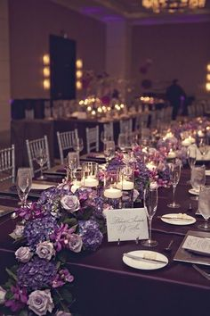 platinum and plum wedding | Plum Floral Runner | Centerpieces - Low & Simply Elegant