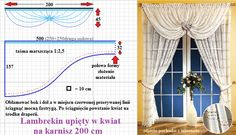 Ubicación de la cortina con patrón. Swag Curtains, Home Curtains, Curtains With Blinds, Kitchen Curtains, Valances, Valance Patterns, Drapery Designs, Dollhouse Tutorials, Crochet Curtains