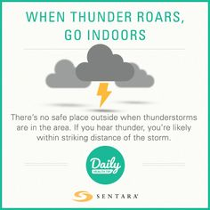 If you are outside when thunderstorms are in the area, the only completely safe action is to get inside a safe building or vehicle. Lightning Safety, Daily Health Tips, Thunderstorms, Safety Tips, Health And Safety, Improve Yourself, The Outsiders, How To Get, Vehicle