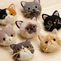 Needle felting wool cute animals cats pets(Via @hanetsukiringo)