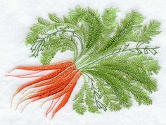 RP: Machine Embroidery: Carrot Botanical