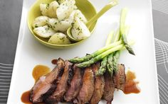 Barbecued soy & ginger lamb with coriander potatoes