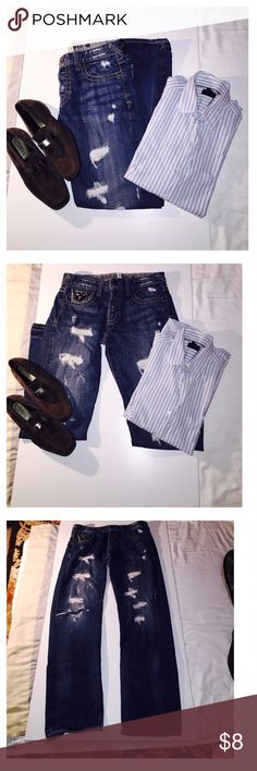 Guess ripped jeans regular straight Guess ripped jeans regular straight good condition W 34 L 32 Guess Jeans Straight