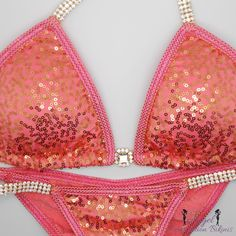 Sequin Coral/gold with coral trim NPC WBFf IFBb by NpcAngelBikinis
