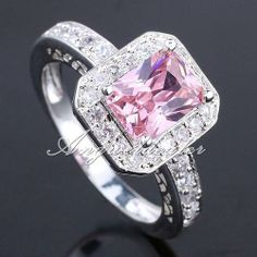 AAA Women Fashion Silver Dress Ring Size 7 Pink CZ 6x8 . Starting at $1 on Tophatter.com!