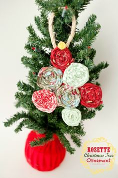 DIY Rosette Christmas Tree Ornament by Kristen Duke
