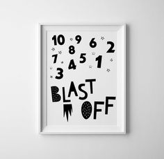 10...9...8...7...Blast off. Gender neutral art print for babies or kids room. Pair up with universe/ spaceship/ space boy or girls prints for the