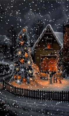 Download Animated 240x400 «Christmas evening» Cell Phone Wallpaper. Category: Holidays