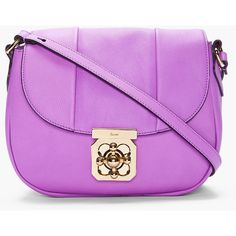 CHLOE Purple Pebbled Leather Elsie Bag ($748) ❤ liked on Polyvore featuring bags, handbags, shoulder bags, purses, bolsas, chloe handbags, purse shoulder bag, pink shoulder handbags, flap handbags and pink handbags