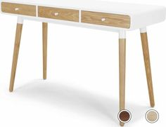 Edelweiss Desk, Ash and White from Made.com. Light Wood/White. We've taken modern Scandinavian design and made it our own. Fittings in contrasting c..
