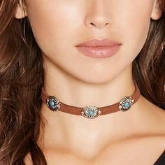 NEW Faux Suede Leather Choker Necklace Oval Turquoise Collar Sexy Womens Jewelry #Unbranded #Choker