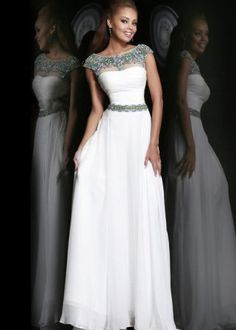 White Beaded Cap Sleeves High Neck Long Prom Dress