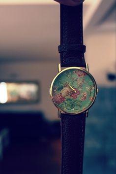 Vintage Mint Rosen Uhr mit braunem Armband, Hipster Oldskool!