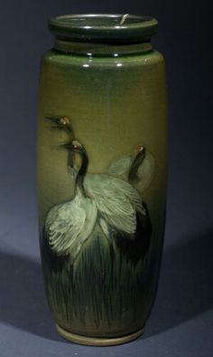 ~Rookwood~Artist: Mathew A. Daly~Circa 1894~Three Large Game Birds Standing In Tall Grass-Sea Green Vase~