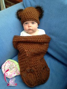 Teddy Bear Baby Cocoon by LoopyChains on Etsy, £35.00
