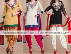 Punjabi Kurti Suit Neck Designs with Patiala Salwar Kameez stylish women dress. Facebook photo of ladies kurtis gala design for girls.