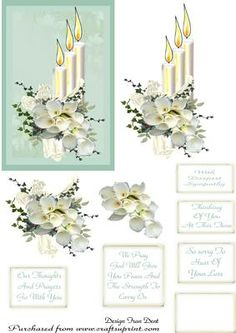 Sympathy Candle With Lilies on Craftsuprint designed by Frances Dent - A quick and easy step by step sympathy card with five sentiments and one blank tag for your own use. - Now available for download!