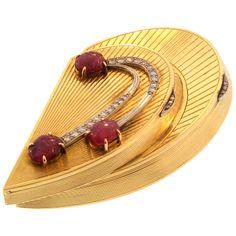 Most & Fogul Gold, Ruby and Diamond Compact, American  1930