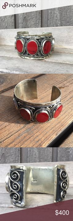 Jasper & Sterling Silver Vintage Mexican Cuff Large, beautiful sterling silver bracelet with gorgeous red jasper stones.   Hefty weight...a lot of silver to this cuff.   Made in Mexico  Stamped:  Hencho en Mexico SS   Pristine Vintage  Jewelry Bracelets