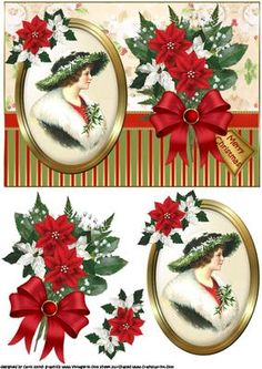 Christmas portrait of a vintage lady quick card on Craftsuprint designed by Carol Smith - a quick make topper sheet for Christmas which has a framed picture of a vintage lady, trimmed with poinsettia bough on one side and a beautiful spray of Christmas flowers with merry Christmas tag on the other thank you for looking please take a peek at my other items - Now available for download!