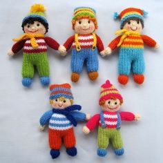 Pattern is written in ENGLISH. Other languages NOT available.  INSTANT DOWNLOAD - PDF download button is on your Purchases and reviews page (to find this click on You top right of page).  JOLLY TOTS Pattern contains instructions for Jolly Tot dolls - 10 little girls and boys that are fun to make and only require small amounts of yarn.  SIZE:SIZE: Jolly Tots Dolls - 15cm (6 in) .  NEEDLES: knitted on two straight 3.25 mm needles (US 3)  YARN: Small amounts of DK (double knitting) yarn (USA…