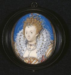 Queen Elizabeth I by Nicholas Hilliard (artist) currently at The British Museum Queen Elizabeth Daughter, Royal Collection Trust, Miniature Portraits, Miniature Paintings, Plantagenet, Casa Real, European Paintings, Tudor History, Beautiful Castles