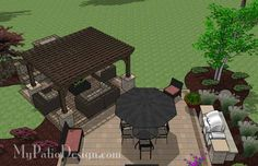 The Dreamy Fireplace Patio Design with Pergola combines a fabulous outdoor dining experience with the warm ambiance of an outdoor fireplace. Downloadable Plan.