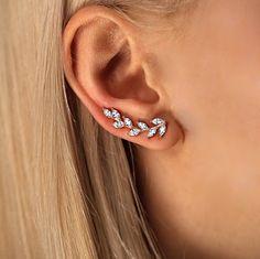 CZ Diamond Rose Gold Ear Cuffs Olive by GoldLayeredNecklaces