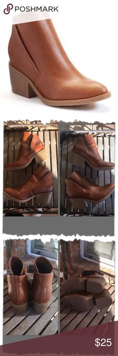 """Apt. 9 Cognac Faux Leather AnkleBoots Gorgeous! In great shape! Faux leather upper. stacked 2"""" heel. Rubber soles. Slip on style. Great go with anything booties. Brown, tan, camel. Apt. 9 Shoes Ankle Boots & Booties"""