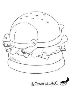 Anime Drawing Hamburger layer idea: instead of hamburger, society toxic Anime Drawings Sketches, Kawaii Drawings, Cartoon Drawings, Cute Drawings, Drawing Base, Manga Drawing, Chibi Body, Chibi Sketch, Drawing Templates