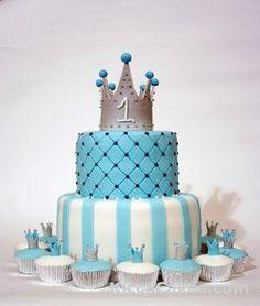 Prince Birthday Theme, Boys First Birthday Cake, Boys 1st Birthday Party Ideas, Baby Boy Cakes, Birthday Cakes For Men, Baby Shower Cakes, Birthday Parties, Cake Pops, Christening Cake Boy