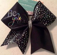 Bows by April - BeYOUtiful Silver Holo Dot and Black Cheer bow, $19.00 (http://www.bowsbyapril.com/beyoutiful-silver-holo-dot-and-black-cheer-bow/)