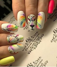 """If you're unfamiliar with nail trends and you hear the words """"coffin nails,"""" what comes to mind? It's not nails with coffins drawn on them. It's long nails with a square tip, and the look has. Manicure Nail Designs, Nail Manicure, Nail Art Designs, Disney Acrylic Nails, Best Acrylic Nails, Funky Nails, Cute Nails, Paw Print Nails, Jolie Nail Art"""
