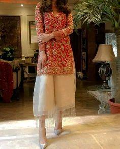 Sakshi White Organza Plazo With Designer Kameez Latest Orange Dress Pakistani Fashion Party Wear, Pakistani Wedding Outfits, Pakistani Couture, Indian Fashion, Latest Wedding Dresses Indian, Bridal Outfits, Walima Dress, Pakistani Formal Dresses, Pakistani Dress Design