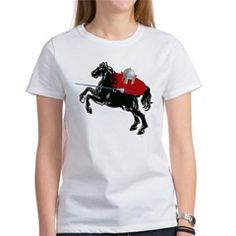 Funny Jousting Cat on Horse Women's T-Shirt...let this knight in shining armor ride to your rescue on his black stallion steed! #cartoon #cats #humor via my Cat Country Art shop @cafepressinc