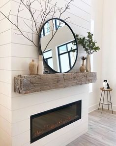 Timeless Decorating Ideas with Reclaimed Mantels - Water's Edge Woods | Custom Wood Shop Bedroom Fireplace, Farmhouse Fireplace, Faux Fireplace, Fireplace Remodel, Fireplace Mantle, Living Room With Fireplace, Fireplace Design, Home Living Room, Fireplace Ideas