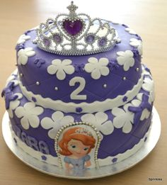 Two tiered Sofia the first/1st cake