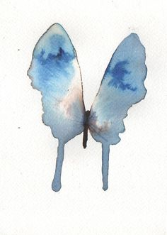 light blue and grey butterfly with white. original watercolour painting