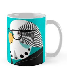 Parakeet coffee mug! Budgies Parrot, Blue Budgie, Cockatiel, Parakeets, Parrots, Crazy Bird, Bird Pictures, Cute Birds, Coffee Time